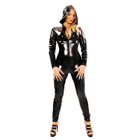 Lack Catsuit Overall mit Kapuze